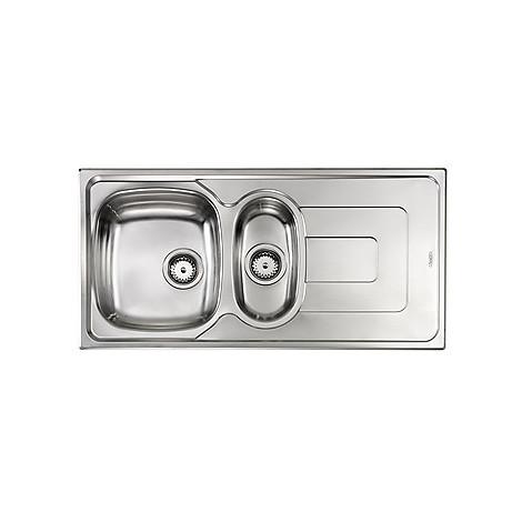 "011395 cm lavello inox pizzica 3"" 100x50 2 vasche a sinistra antigraffio"