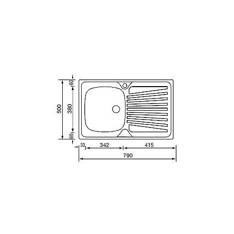 011501 cm lavello inox mondial 79x50 1 vasca a destra