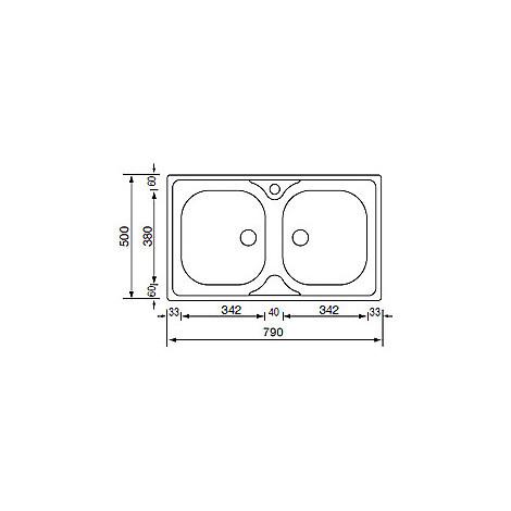 011502 cm lavello inox mondial 79x50 2 vasche