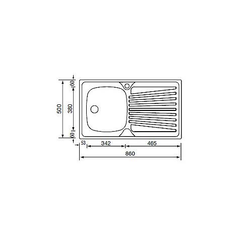 011503 cm lavello inox mondial 86x50 1 vasca a destra