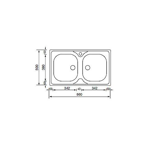 011504 cm lavello inox mondial 86x50 2 vasche