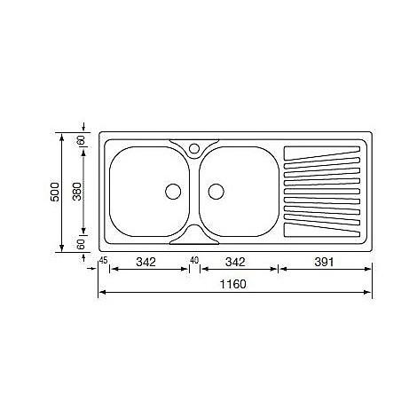 011507 cm lavello inox mondial 116x50 2 vasche a destra