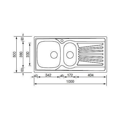 "011545 cm lavello inox mondial 3"" 100x50 2 vasche a destra"