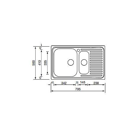 """011641 cm lavello inox matico 3"""" 79x50 2 vasche a sinistra"""