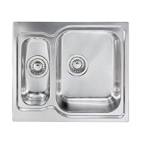 """011642 cm lavello inox matico 3"""" 58x50 2 vasche a destra"""