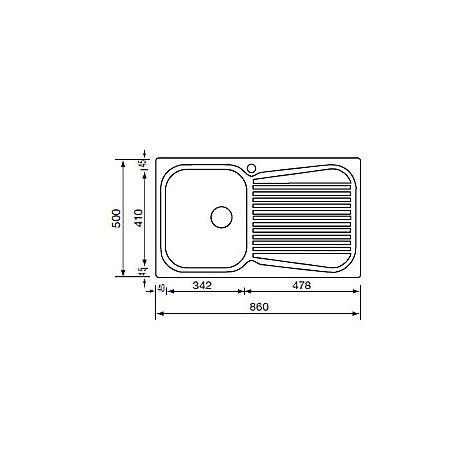 """011643 cm lavello inox matico 3"""" 86x50 1 vasca a destra"""