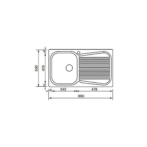 """011693 cm lavello inox matico 3"""" 86x50 1 vasca a destra antigraffio"""