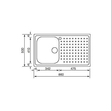 "011703 cm lavello inox punto plus 3"" 86x50 1 vasca a destra microdecoro"