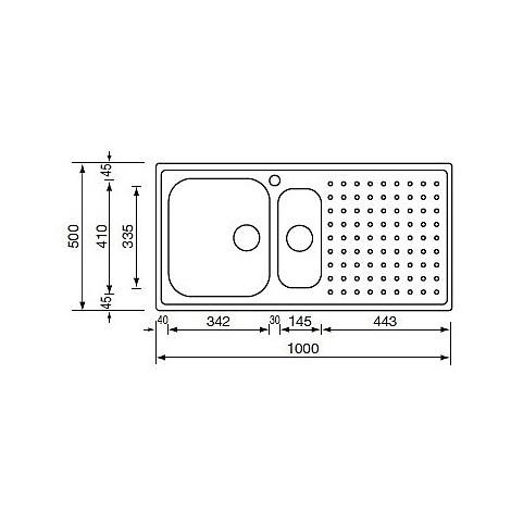 """011705 cm lavello inox punto plus 3"""" 100x50 2 vasche a destra microdecoro"""