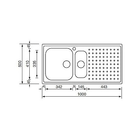 "011705 cm lavello inox punto plus 3"" 100x50 2 vasche a sinistra microdecoro"