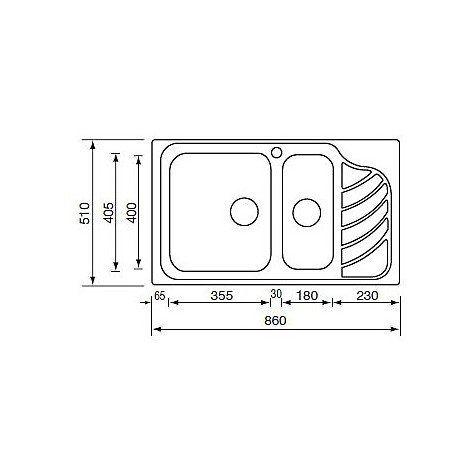 "011754 cm lavello inox eureka 3"" 86x51 2 vasche a destra"