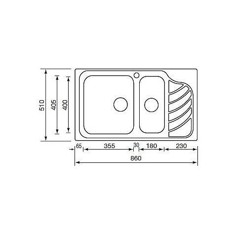 "011754 cm lavello inox eureka 3"" 86x51 2 vasche a sinistra"