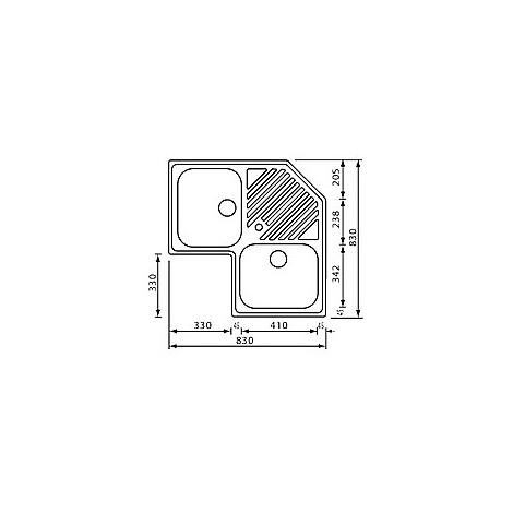 """011840 cm lavello inox ilaria 3"""" angolo 2 vasche"""