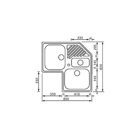 """011848 cm lavello inox ilaria 3"""" angolo 3 vasche"""