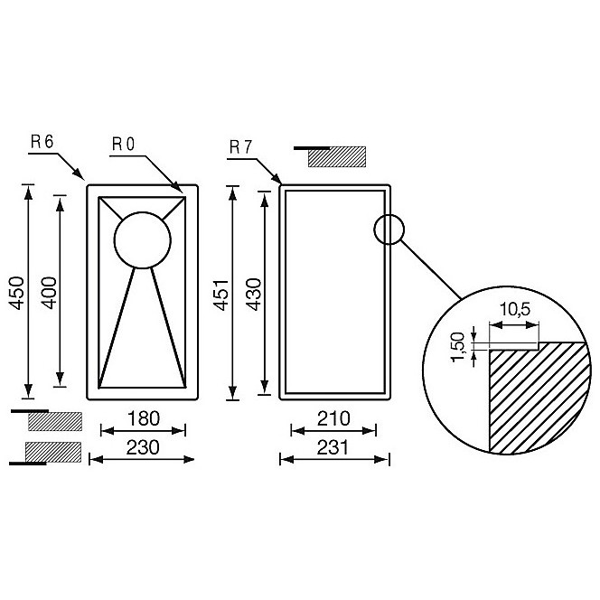 """011900 cm lavello inox filo quadra 3"""" 23x45x13 incasso slim"""