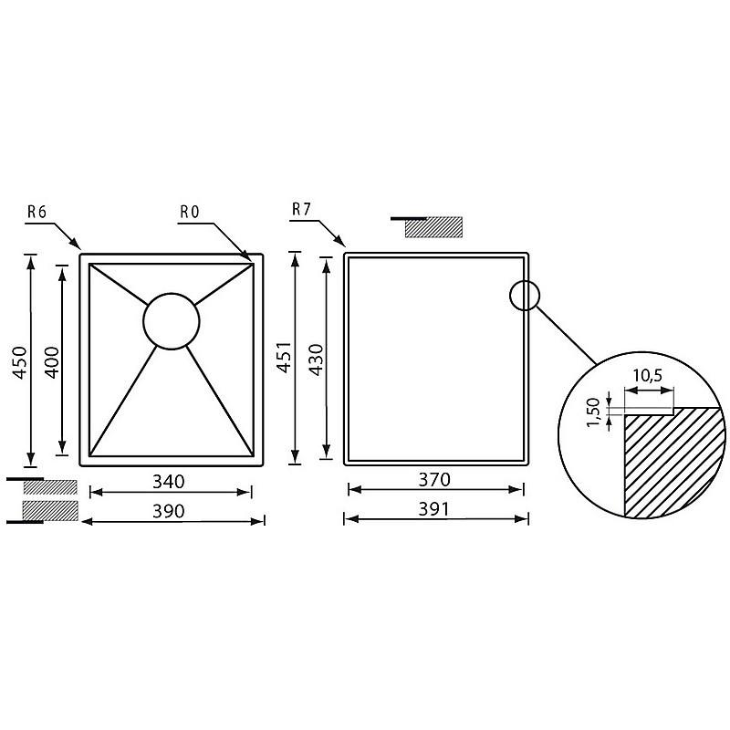 """011904 cm lavello inox filo quadra 3"""" 39x45x19 incasso slim"""