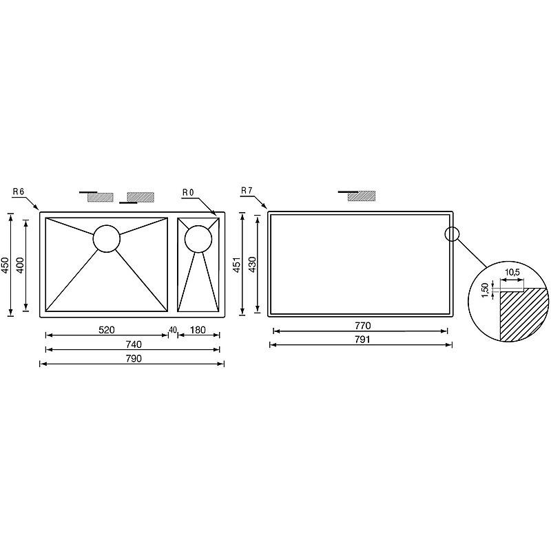 "011905 cm lavello inox filo quadra 3"" 79x45x19/13 2 vasche a destra incasso slim"