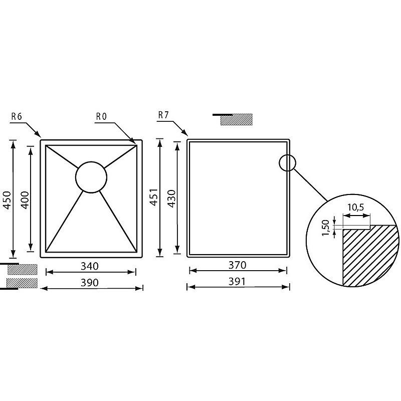 """011907 cm lavello inox filo quadra 3"""" 39x45x5 incasso slim"""