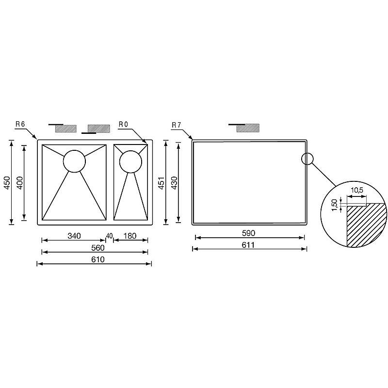 """011912 cm lavello inox filo quadra 3"""" 61x45x19/13 2 vasche a destra sottotop"""