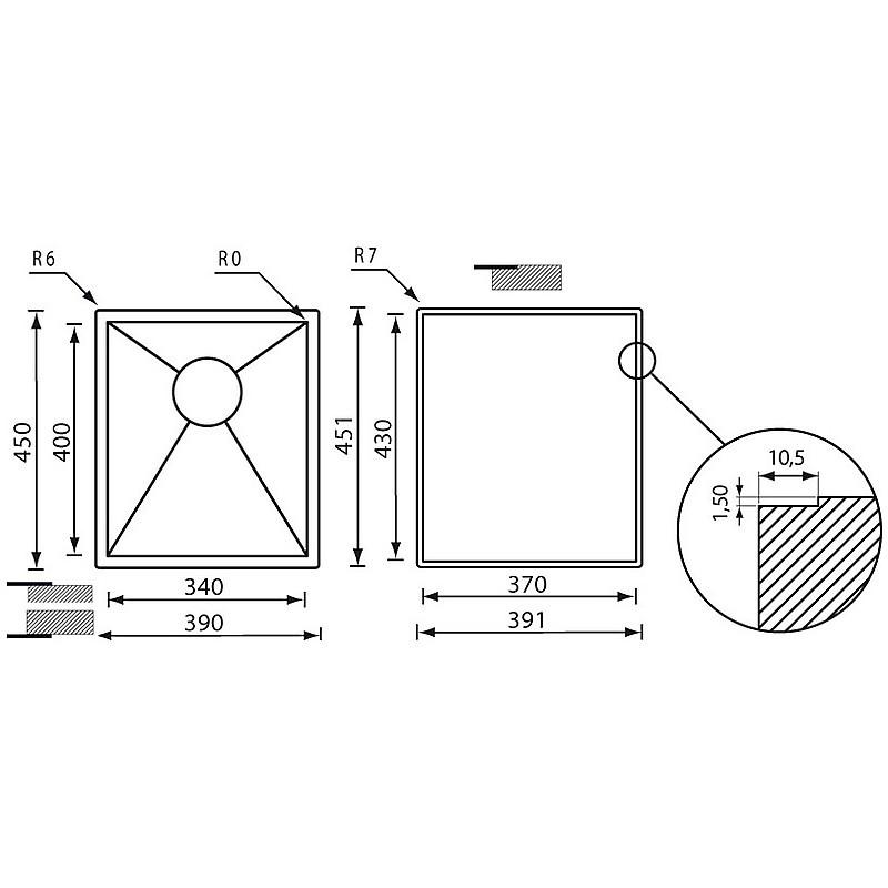 """011914 cm lavello inox filo quadra 3"""" 39x45x19 sottotop"""