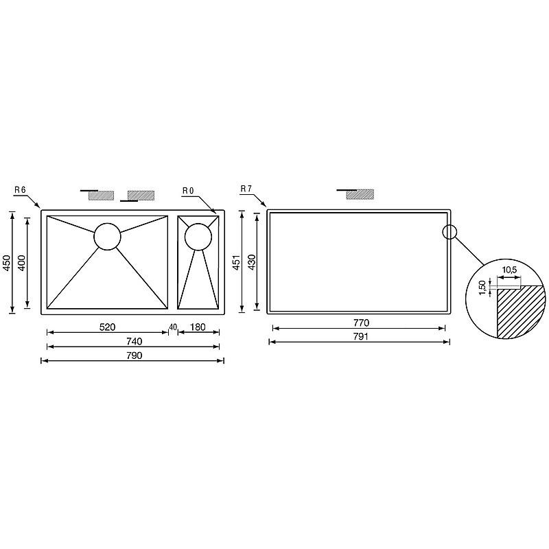 """011915 cm lavello inox filo quadra 3"""" 79x45x19/13 2 vasche a destra sottotop"""