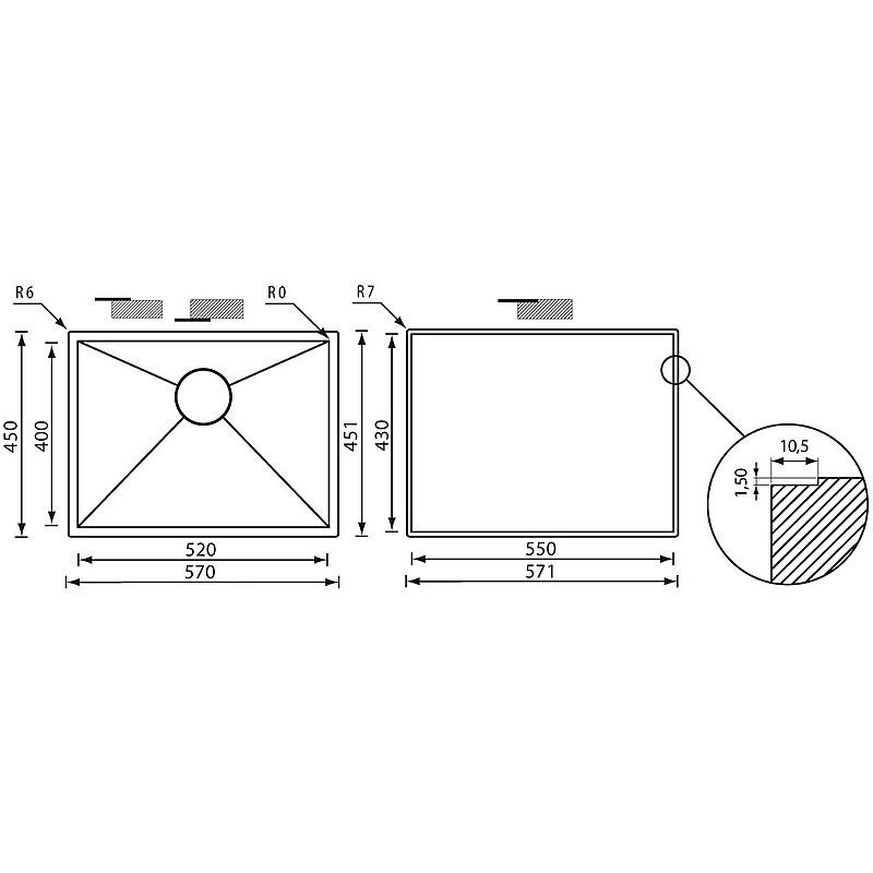 """011918 cm lavello inox filo quadra 3"""" 57x45x19 sottotop"""