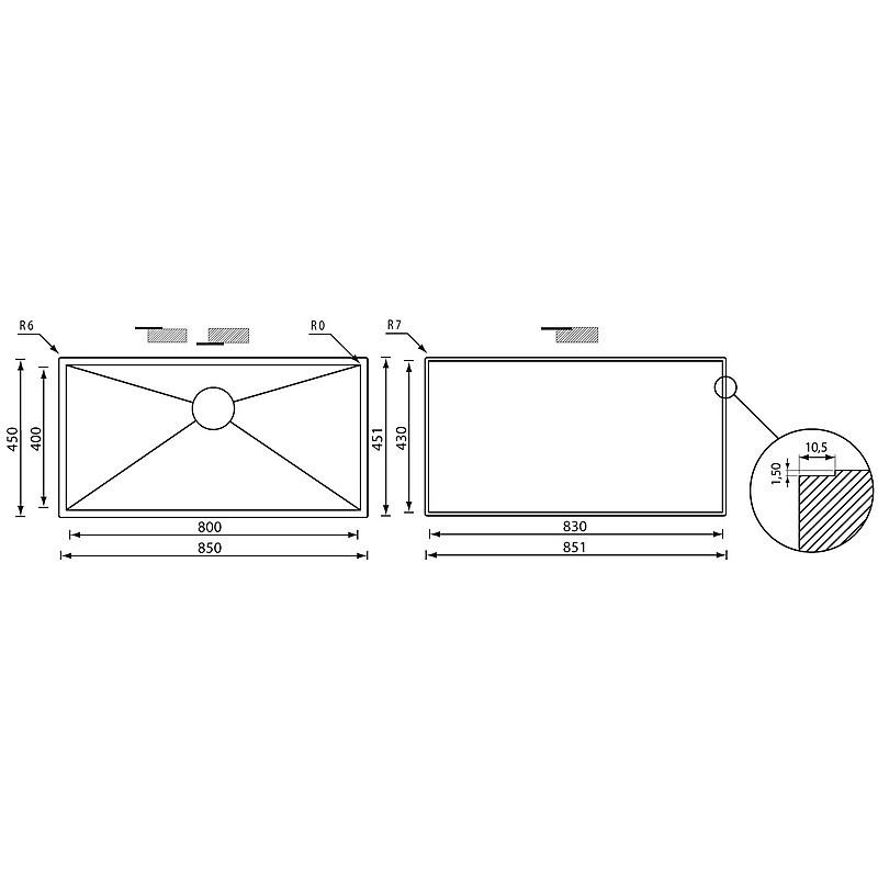 """01191a cm lavello inox filo quadra 3"""" 85x45x19 sottotop"""