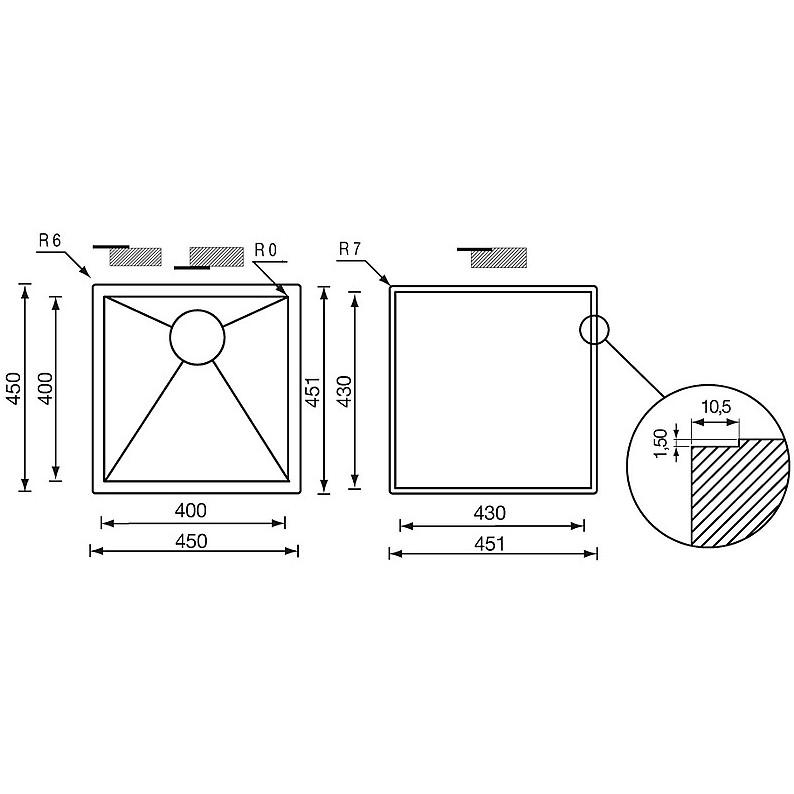 """011921 cm lavello inox filo quadra 3"""" 45x45x19 filotop"""
