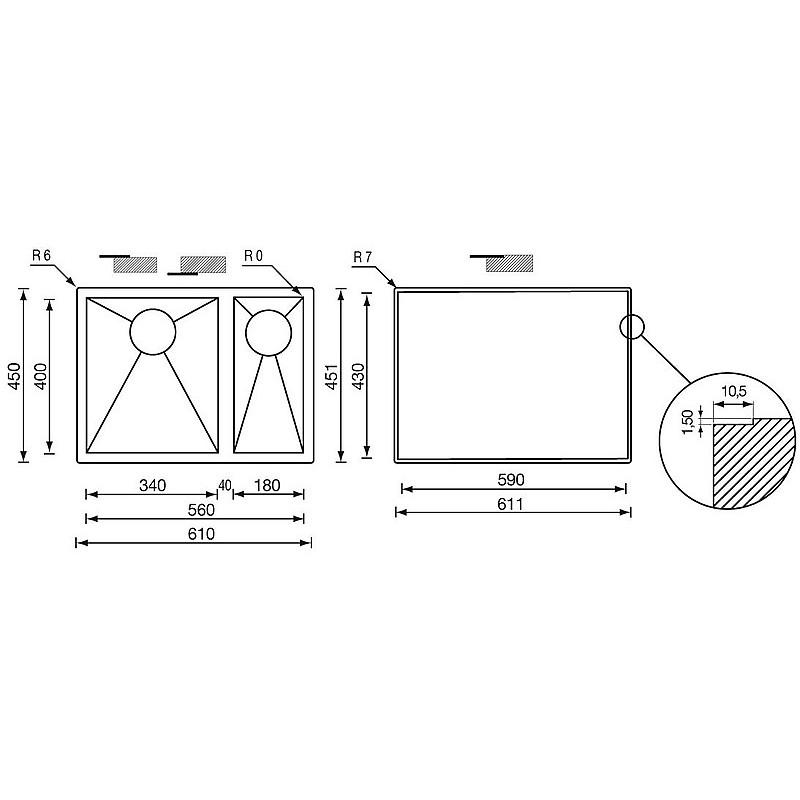 """011922 cm lavello inox filo quadra 3"""" 61x45x19/13 2 vasche a sinistra filotop"""