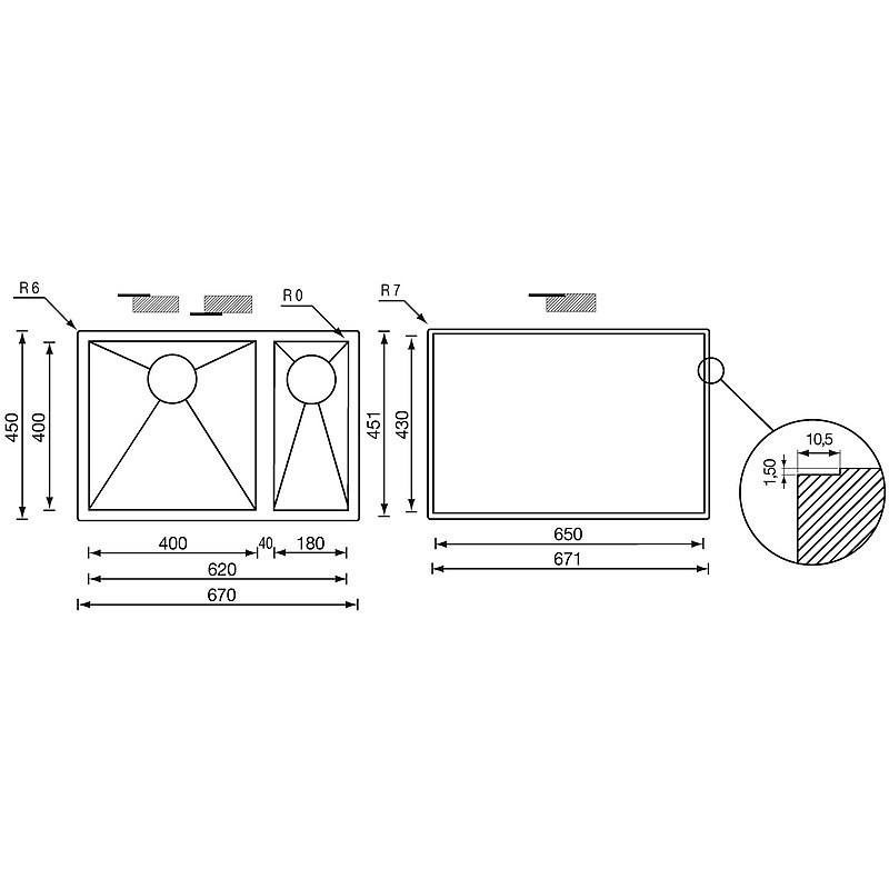 """011923 cm lavello inox filo quadra 3"""" 67x45x19/13 2 vasche a sinistra filotop"""