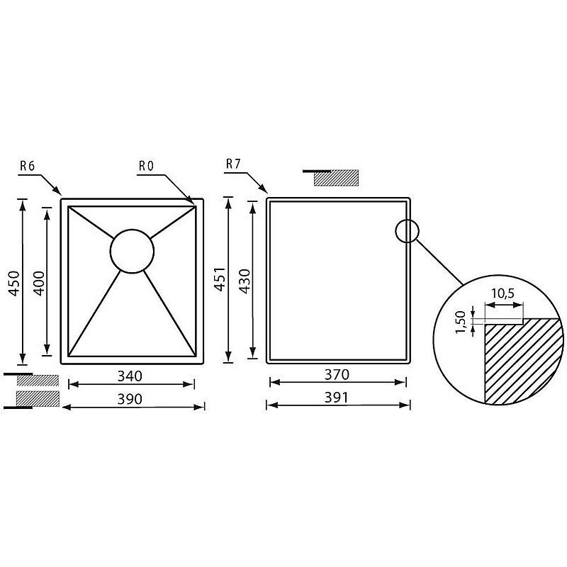 """011924 cm lavello inox filo quadra 3"""" 39x45x19 filotop"""