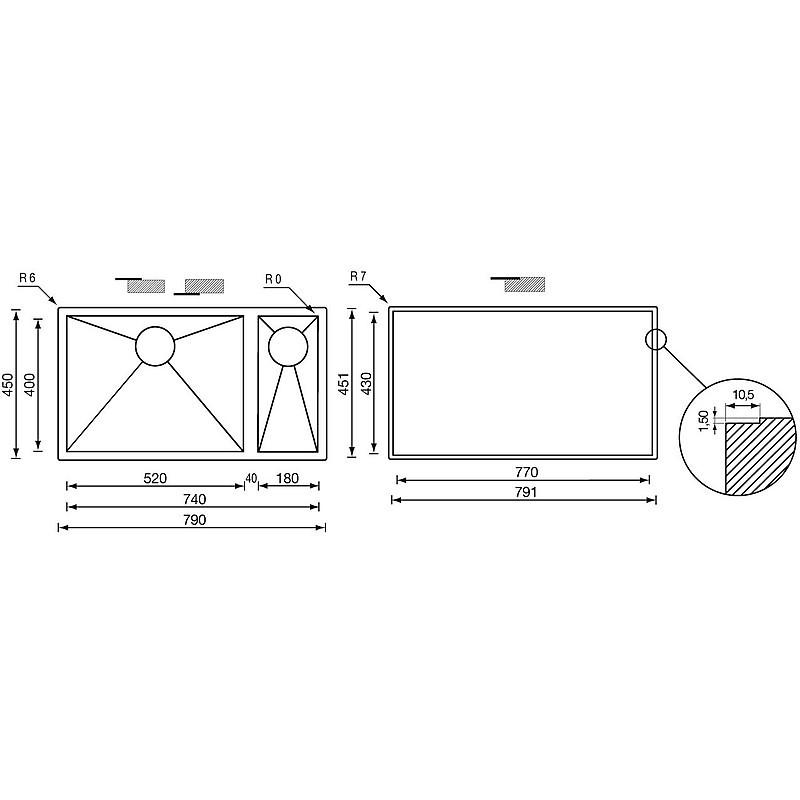 """011925 cm lavello inox filo quadra 3"""" 79x45x19/13 2 vasche a destra filotop"""