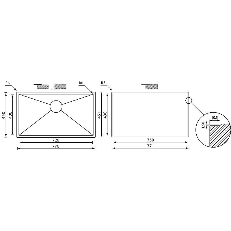 """011926 cm lavello inox filo quadra 3"""" 77x45x19 filotop"""