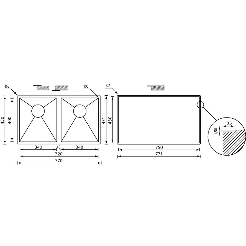 """011929 cm lavello inox filo quadra 3"""" 77x45x19 2 vasche filotop"""
