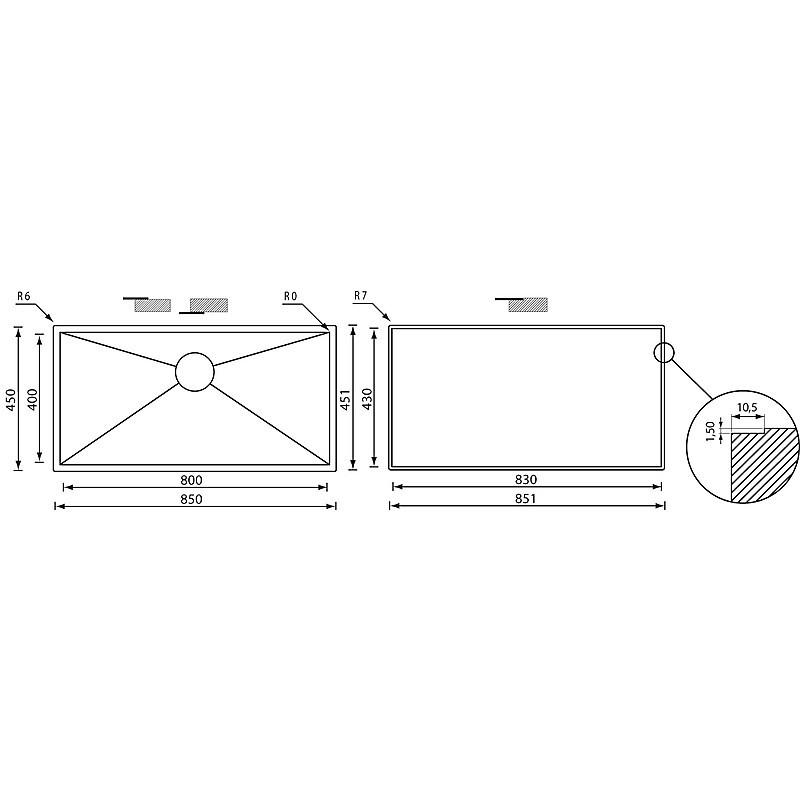 """01192a cm lavello inox filo quadra 3"""" 85x45x19 filotop"""