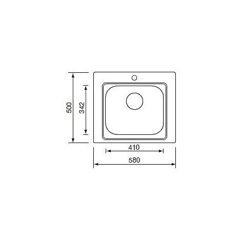 """011945 cm lavello inox cinzia 3"""" 58x50 con sifone 1 via"""