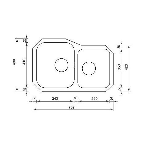 """011950 cm lavello inox cinzia 3"""" 73,2x48 2 vasche a dx sottotop con sifone spazio 2 vie"""