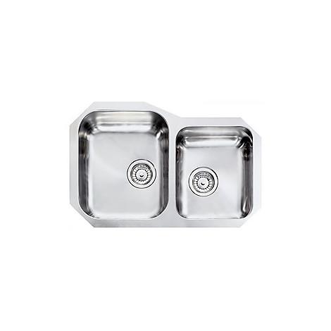 """011950 cm lavello inox cinzia 3"""" 73,2x48 2 vasche a sx sottotop con sifone spazio 2 vie"""