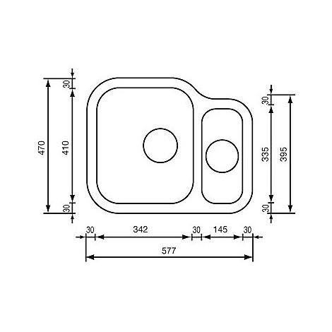 """011958 cm lavello inox cinzia 3"""" 57,7x47 2 vasche a sx sottotop con sifone spazio 2 vie"""