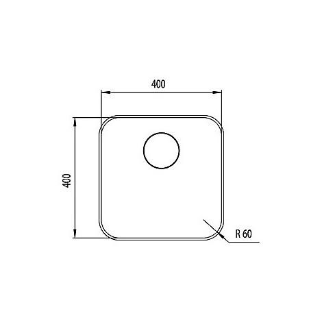 """01195a cm lavello inox cinzia 3"""" 40x40 sottotop con sifone 1 via"""
