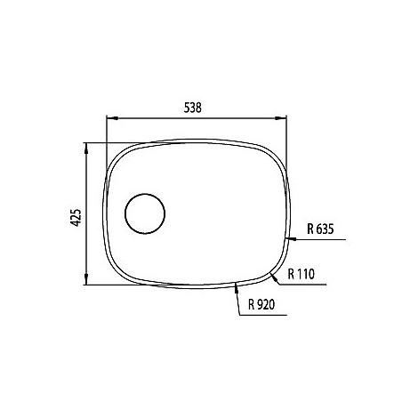 """011975 cm lavello inox cinzia 3"""" 53,8x42,5"""