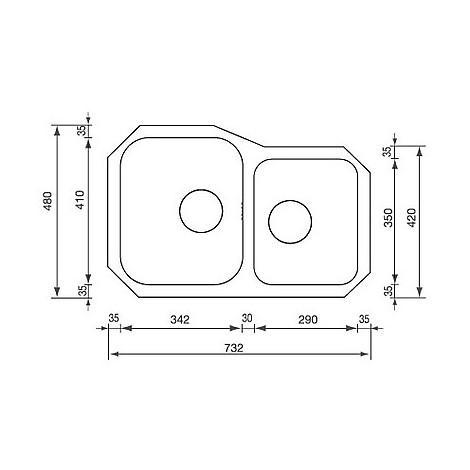 "011990 cm lavello inox cinzia 3"" 73,2x48 2 vasca a destra"
