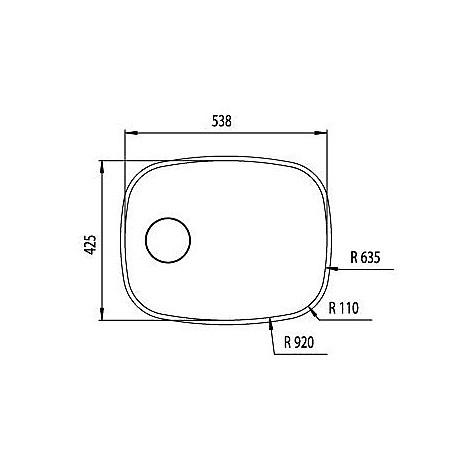"""011995 cm lavello inox cinzia 3"""" 53,8x42,5"""