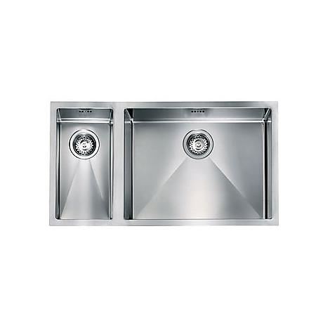 """012001 cm lavello inox filo raggiato 3"""" 81x45x19 2 vasche a destra sottotop"""