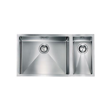 """012001 cm lavello inox filo raggiato 3"""" 81x45x19 2 vasche a sinistra sottotop"""