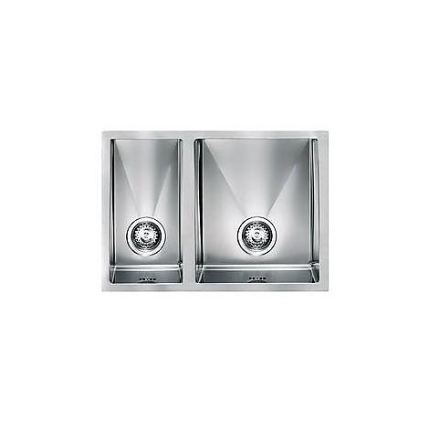 """012003 cm lavello inox filo raggiato 3"""" 63x45x19 2 vasche a destra sottotop"""