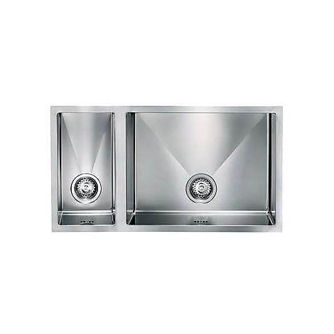 """012021 cm lavello inox filo raggiato 3"""" 81x45x19 2 vasche a destra incasso slim"""