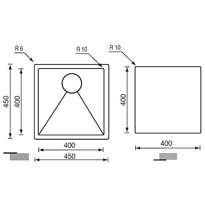 """012022 cm lavello inox filo raggiato 3"""" 45x45x19 incasso slim"""