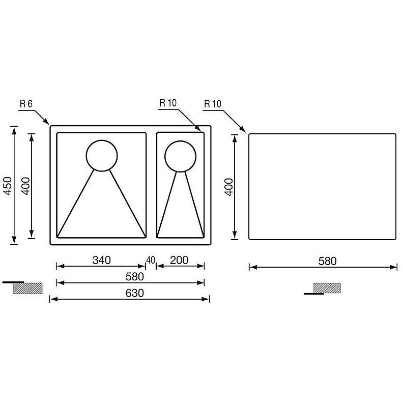"""012023 cm lavello inox filo raggiato 3"""" 63x45x19 2 vasche a destra incasso slim"""