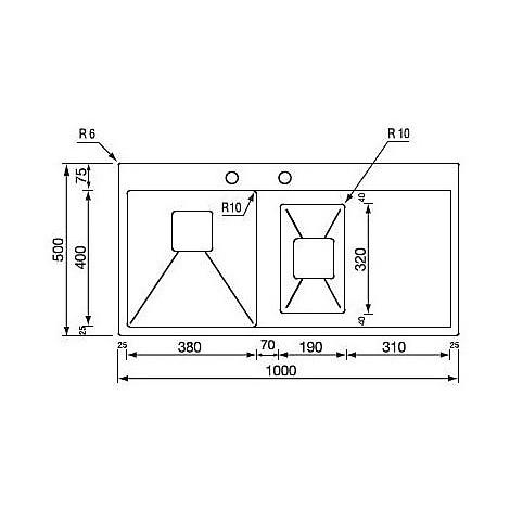 """012035 cm lavello inox batik 3"""" 100x50 2 vasche a dx incasso slim con piletta automatica"""
